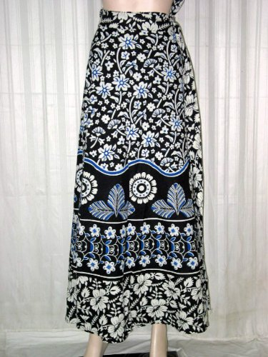 "Friendship Gift - Black White Floral Print Womens Cotton Wrap Around Skirts India 40"" Long Free Shipping"