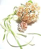 ウェディング ブーケ ブートニア セット バラ 結婚式 造花 ブーケ&ブーケトニア セット (オレンジ)