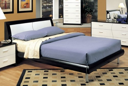 Modern Contemporary White & Cappuccino Queen Size Platform Bed