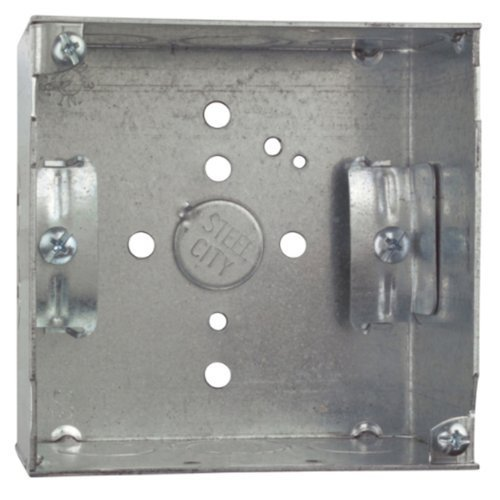 Steel City 52171N Pre-Galvanized Steel Square Box with C-5 Non-Metallic Cable Clamps and 1/2-Inch and 3/4-Inch Eccentric Knockouts by Thomas & Betts