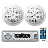 Pyle Stereo Radio Headunit Receiver & Waterproof Speaker Kit, Aux (3.5mm) MP3 Input, USB Flash & SD Card Readers, Remote Control, Includes (2) 5.25'' Speakers, Single DIN (White)