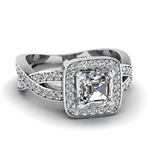 Fascinating Diamonds Intertwined Engagement Ring Pave Set 1 Ct Asscher Cut Halo Diamond VS1 14K GIA