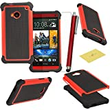 HTC One M7 Case, M7 Case, Fulland Deluxe Hybrid TUFF Rugged Shockproof Rubber + Hard Case Cover For HTC One M7 Plus Stylus Pen and Screen Protector-Red
