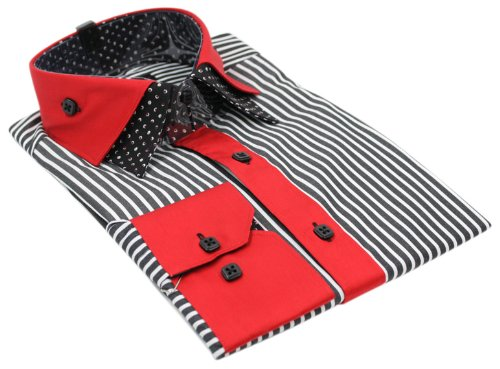 Mens Italian Design Black Red Stripe Shirt Slim Fit Smart or Casual 100% Cotton