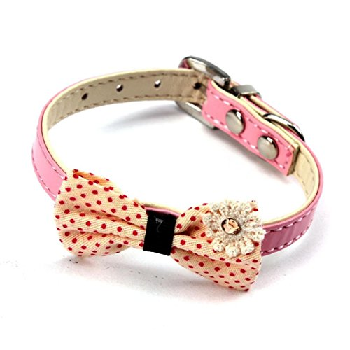 Baishitop Designer Dog Collars Necklace, Bowknot PU Leather Collars For Small Dog(XS) (Pink )