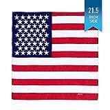 Premium American Flag Bandana - American Headband - US Bandana - Ideal Size Fits All: 21.5 x 21.5 Inches - 100% Natural Cotton Keeps You Cool