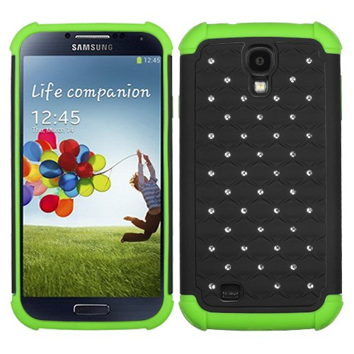 Fits Samsung I337 I9500 Galaxy S 4 Hard Plastic Snap On Cover Black/Electric Green Luxurious Lattice Dazzling Totaldefense At&T