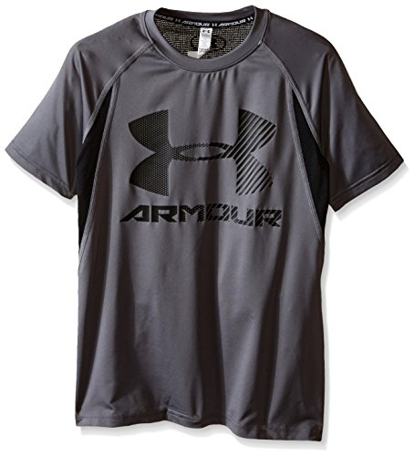 Under Armour Boys' HeatGear Armour Up Digi Fitted Short Sleeve Shirt, Graphite (043), Youth Large