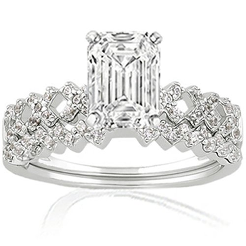 Bridal Sets 1 Ct Emerald Cut Pave Diamond Rings Set 14K VVS2 G GIA