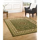 XLarge New Quality Traditional Rugs Green rug carpet 200 x 290 cm (6'7