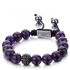 Shimla Jewellery - SH 056 - Bracelet Shamballa Mixte - Laiton - Cuir - Améthyste