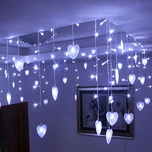 Hikong Wedding 8m * 0.75m Led Curtain Light String Heart Shape Romantic 192 Leds Party Wedding Holiday Christmas Marriage Xams Fairy String Lamp (Pure White) high quantiy 28 ball led 5m string light for christmas xmas holiday wedding party decoration fashion holiday light 8 mode work