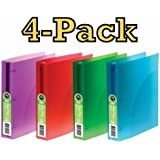 4-pack Acco Flex Poly Translucent Binders, 1 Inch Capacity, Letter Size, Round Ring, Extra Large Pockets, Blue, Green, Purple, Red