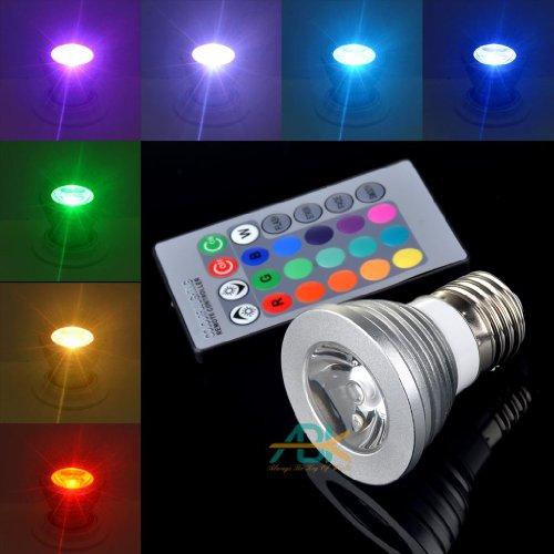 Abk Lighting(Tm) Multi-Color E27 3W Ac110V 16 Colors Remote Control Rgb Flash Led Spot Light Bulb Lamp Mood Bulb +24 Key Remote Control