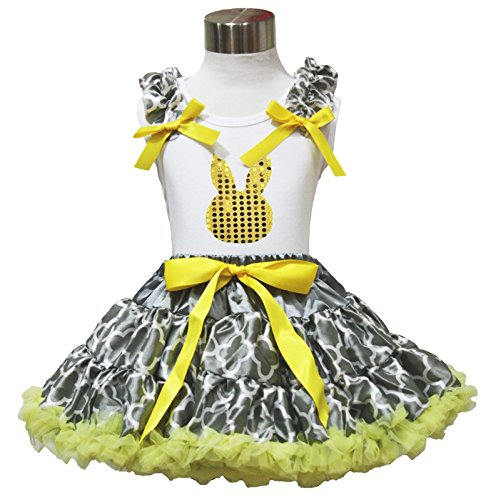 Easter Sequin Bunny Face Top Yellow Gray Quatrefoil Clover Skirt Outfit Set 1-8y
