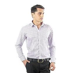 ZIDO Purple Blended Men's Striped Shirts PCFLX1289_Purple_48