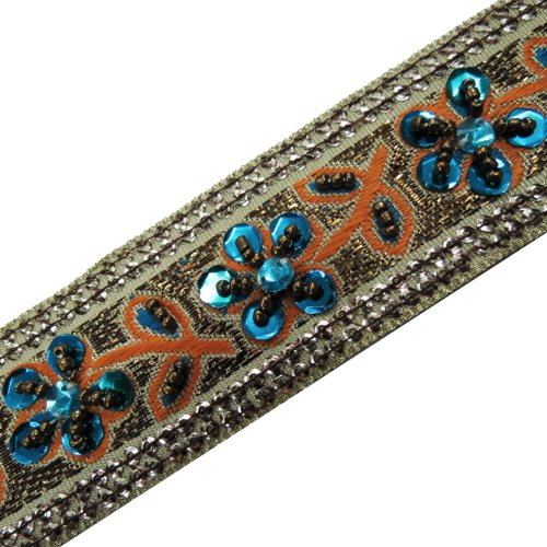 1 Yard Hand Beaded Blue Sequin Ribbon Trim Craft Sewing
