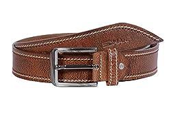 SCHARF Brown Stitched Men's Leather Belt