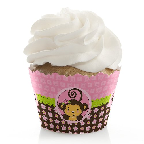 Baby Shower Cupcake Wrappers - Monkey Girl front-720829