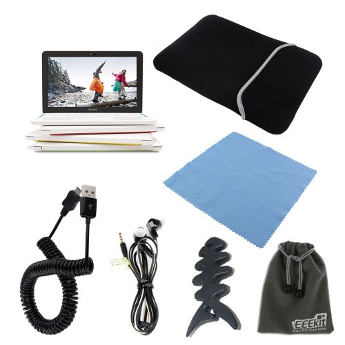 Eeekit Starter Kit For 11.6 Inch Hp Chromebook 11, Universal Soft Sleeve Carry Bag+Micro Usb Male To Usb A Male Spring Cable(10 Feet)+Micro Fiber Screen Cleaning Cloth+Universal Earphone+Fishbone Headset Wrap+Soft Protective Storage Pouch