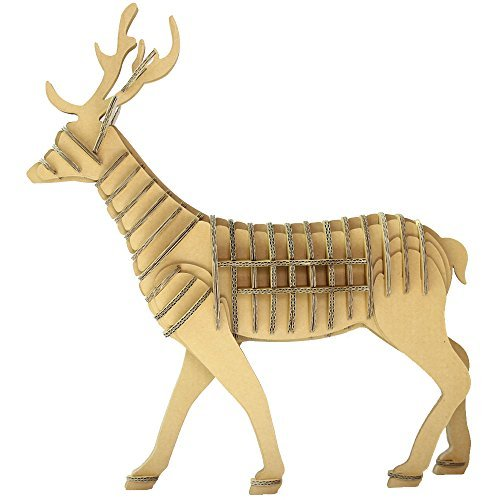 Playwin Corrugated Paper 3d Jigsaw Puzzle the Best Parent-child Games and Holiday Gift----let Your Children Make a Lifelike Animal World (Sika Deer)