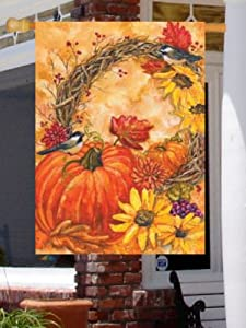 Pumpkin Wreath Large Flag