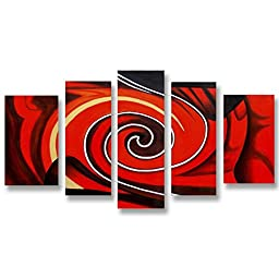 Neron Art - Handpainted Abstract Oil Painting on Gallery Wrapped Canvas Group of 5 pieces - Dar es Salaam 48X32 inch (122X81 cm)