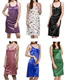 Pack of 6 Pieces Satin Lycra Night Dress For Women's
