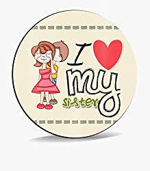 Sky Trends I Love My Sister With Blind On Eyse Red Color Heart Smile Gifts For Brother And Sister For Rakshabandhan Mousepad