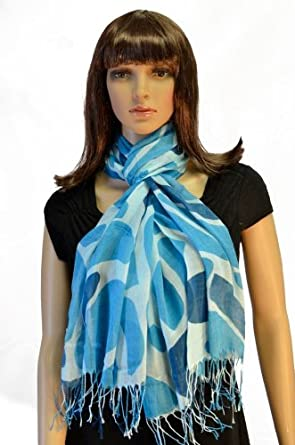 Pashmina Blue Giraffe Print Fringed Shoulder Wrap Scarf