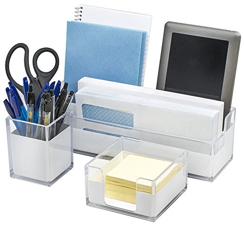 Sorbus Acrylic Desk Organizers Set – 3-Piece, Includes Desk Organizer Caddy, Memo Tray and Pen Cup, Modern Desk Accessories Organizer Great for Home or Office, White Clear (Desk Organizer Set)