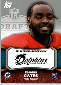 2011 Topps Rising Rookies Football Card # 183 Edmond Gates RC - Miami Dolphins (RC - Rookie Card) NFL Trading Card Protective Screwdown Display Case