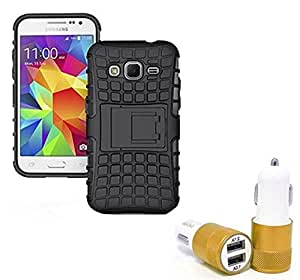 Droit Shock Proof Protective Bumper back case with Flip Kick Stand for Samsung J3 + Car Charger With 2 Fast Charging USB Ports by Droit Store.