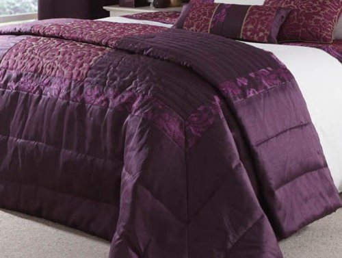 Catherine Lansfield Quilted Damask Bedspread, Plum
