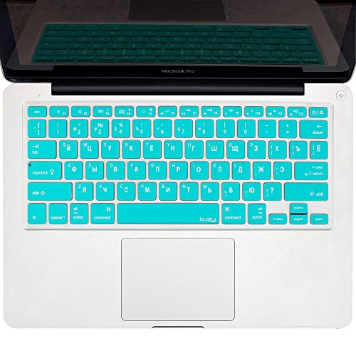 """Kuzy - Teal Russian Language Keyboard Cover Silicone Skin For Macbook Pro 13"""" 15"""" 17"""" (With Or W/Out Retina Display) Imac And Macbook Air 13"""" - Teal Russian/English"""
