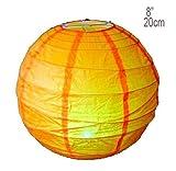 1 x 8 20cm Orange Round Rice Paper Hanging Lampshade
