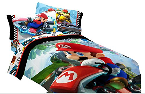 Super Mario Bros Twin Comforter & Sheets (4 Piece Kids Bedding)