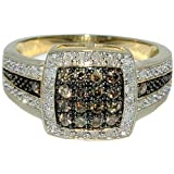 Cognac Diamond Cocktail ring 0.49ct Yellow Gold 11mm wide right hand anniversary