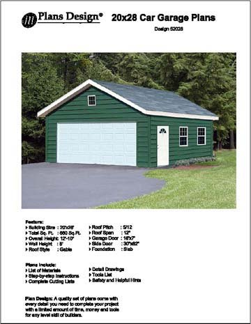 20' X 28' Car Garage Project Plans - Design #52028