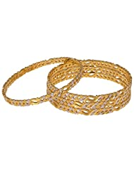 Shivani Imitations Gold Plated Designer Golden Bangle Set For Women - B00R30CXFU