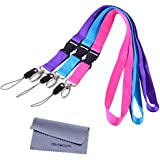 Office Lanyards, Wisdompro 3pcs 23-Inch Premium Polyster Neck Lanyards / Straps with J-Hook & Detachable Buckle For Mobile Cell Phones, Cameras, iPods, USB Flash Drives, Keys, Keychains, ID Name Tag Badge Holders, Video Game And Other Portable Staff - Purple, Hot Pink, Light Blue