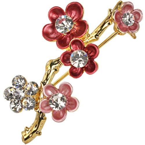 Sakura Cherry Blossom Branch Diamante Gold-Tone