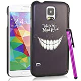BeeShine Retail Package Mysterious Smile Teeth Pattern Galaxy S5 Snap-on Hard Plastic Skin Back Case Cover W/ LCD Film Screen Protector & Touch Stylus Pen for Samsung Galaxy S5 / SV /G900