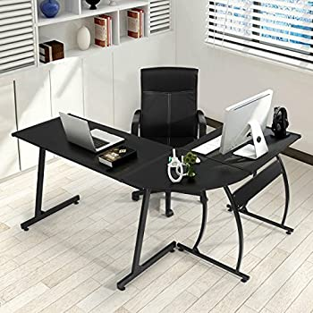 GreenForest L-Shape Corner Computer Desk PC Laptop Table Workstation Home Office 3-Piece,Black