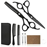 Hair Cutting Scissors Professional Home Haircutting Barber Salon Thinning Shears Kit 6CR 660C stainless steel with Comb and Case for Men/Women (Color: Black)