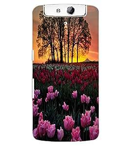ColourCraft Lovely Flowers Design Back Case Cover for OPPO N1