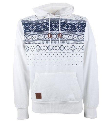 Tokyo Tigers 'Solna' Men's Aztec Print Hooded Sweatshirt Ecru S