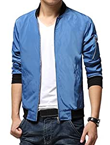 Men Zip Closure Front Pockets Ribbed Cuffs Leisure Jacket