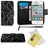 Apple iPhone 4 / 4G / 4S Black Diamond Bling Sparkly Glitter Leather Wallet Flip Case Cover Pouch + Diamond Retractable Touch Stylus Pen + Screen Protector & Polishing Cloth