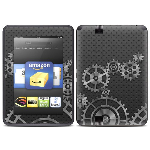 Gear Wheel Design Protective Decal Skin Sticker (Matte Satin Coating) For Amazon Kindle Fire Hd 7 Inch (Released Fall 2012) Ebook Reader front-624590
